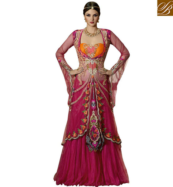 STYLISH BAZAAR WONDERFULLY DESIGNED INDO WESTERN LEHENGA CHOLI DESIGN GLS59001