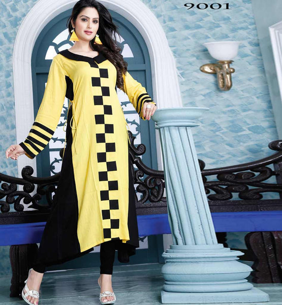 ELEGANT YELLOW DESIGNER COTTON LONG KURTI CFAK9001
