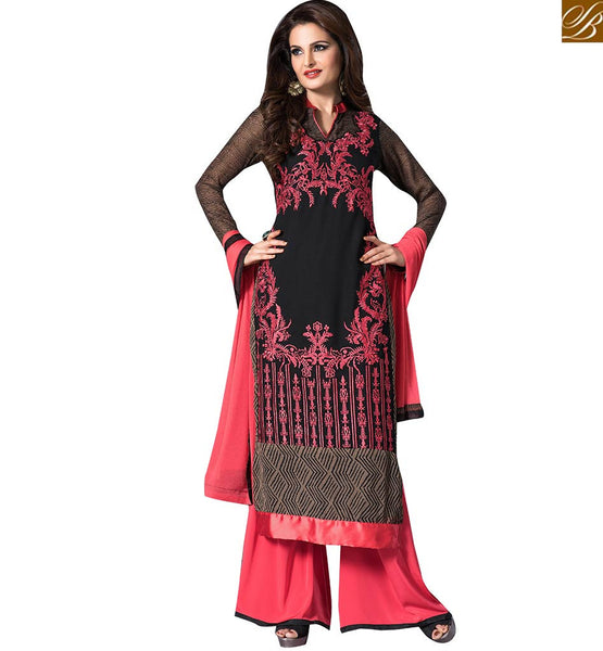YESTERYEARS ACTRESS MONICA BEDI IN BEAUTIFUL DESIGNER SALWAAR KAMEEZ DESIGN VDHNY9001 BY COLOR IS BLACK & DUSTY PINK