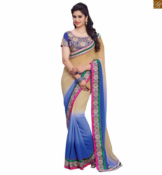 BROUGHT TO YOU BY STYLISH BAZAAR ATTRACTIVE HALF AND HALF BLUE AND CREAM SARI WITH BLUE BLOUSE RTBAJ9002