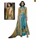 Astonishing blue lahenga style anarkali with golden net overlay sky-blue net and georgette different style dress. Heavy embroidery work on all over top Pic