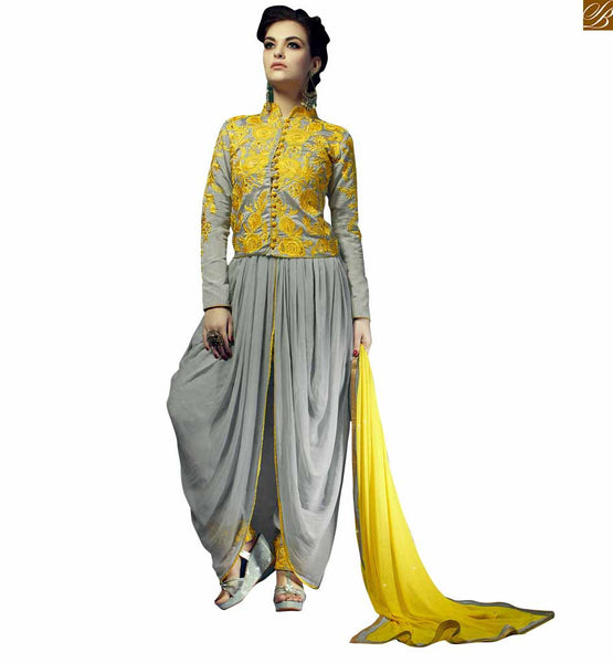 STYLISH BAZAAR CHARMING GREY COLORED DHOTI STYLE SALWAR SUIT RTRIN9002