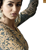 A STYLISH BAZAAR PRESENTATION SUPERB GREEN AND BEIGE SALWAR KAMEEZ DESIGNER WEAR VDKYA9002