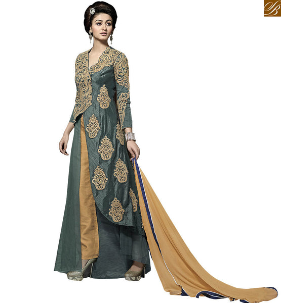 STYLISH BAZAAR INTRODUCES SUPERB GREEN AND BEIGE SALWAR KAMEEZ DESIGNER WEAR VDKYA9002
