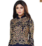NACH BALIYE JUDGE AND BEAUTIFUL HEROINE SHILPA SHETTY DESIGNER DRESS  GEORGETTE ANARKALI SUIT WITH EMBROIDERED YOKE BACK SLEEVES, PURE CHIFFON DUPATTA WITH STONE WORK