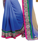 A STYLISH BAZAAR PRESENTATION ATTRACTIVE HALF AND HALF BLUE AND CREAM SARI WITH BLUE BLOUSE RTBAJ9002