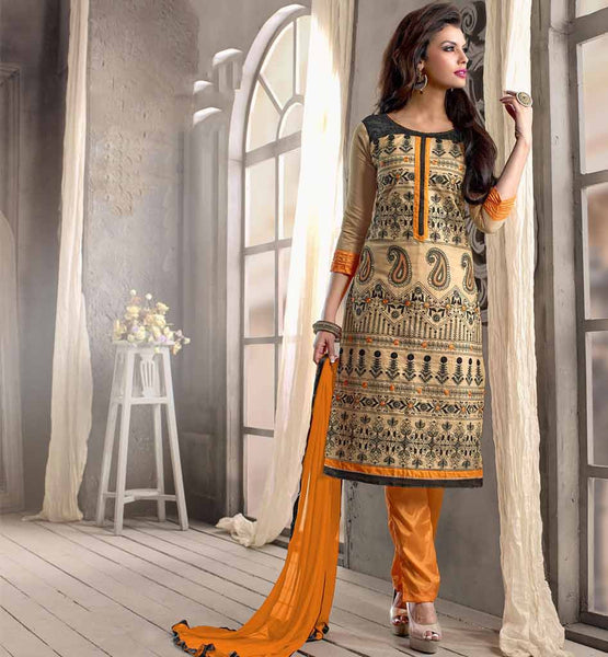 Indian Rajwadi Style Parallel Cotton Salwar Kameez Dupatta