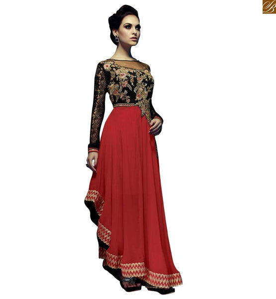 STYLISH BAZAAR ATTRACTIVE BLACK AND RED COLORED PARTY WEAR SALWAR SUIT DESIGN RTRIN9003