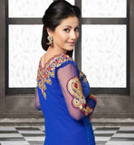 LOVELY INDIAN CELEBRITY HEENA KHAN IN BLUE GEORGETTE SALWAR SUIT