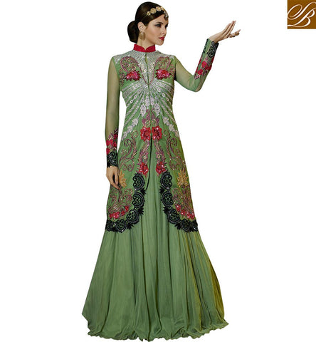 MARVELOUS BRIDAL WEAR DESIGNER 3 PIECE LEHENGA SUIT GLS59003 BY SEA GREEN
