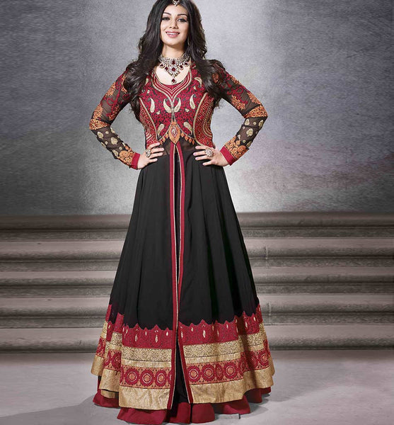 BEWITCHING BLACK AYESHA TAKIA GOWN STYLE SALWAR KAMEEZ DRESS RTNV9003 - STYLISHBAZAAR - Ayesha Takia online shopping for anarkali suits, Ayesha Takia online shopping for anarkali dress, online shopping of Ayesha Takia anarkali suits, online shopping anarkali dress, online shopping of anarkali dress, Ayesha Takia