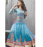LOVELY LIGHT BLUE NET ANARKALI SALWAR SUIT PFZF9003 -  STYLISHBAZAAR - salwar kameez online, designer salwar suits, online salwar kameez, party dresses india, party wear dresses, Wedding Salwar Suits. Anarkali Dresses