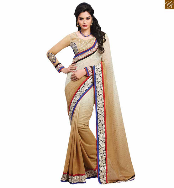 FROM THE HOUSE  OF STYLISH BAZAAR FASHIONABLE PASTEL COLOR CHIFFON SAREE MATCHED WITH A CREAM BLOUSE RTBAJ9004