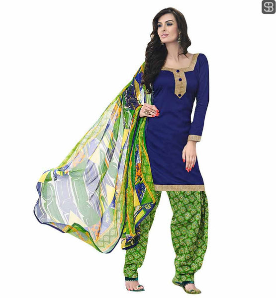 DESIGNER PATIALA SALWAR SUITS LATEST SALWAR KAMEEZ DESIGNS WONDERFUL BLUE LACE BORDER KAMEEZ WITH PRINTED GREEN SALWAR AND DUPATTA