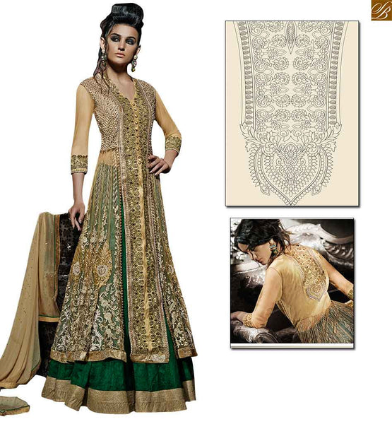 Floor length green and golden heavy anarkali for wedding collection green amazing color occasional wear lehanga with golden border,top at heavy embroidery work Image