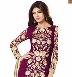 FLORAL DESIGN WORK LOVELY DRESS FEATURING GORGEOUS BOLLYWOOD BEAUTY SHILPA SHETTY GEORGETTE EMBROIDERED SUIT AND PURE CHIFFON DUPATTA WITH STONE WORK