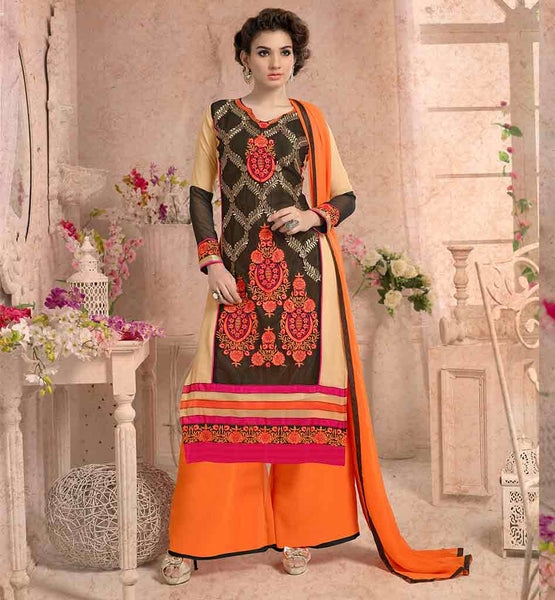 BUY PALAZZO SALWAR SUITS DRESS MATERIALS FOR PARTY WEAR CLOTHING