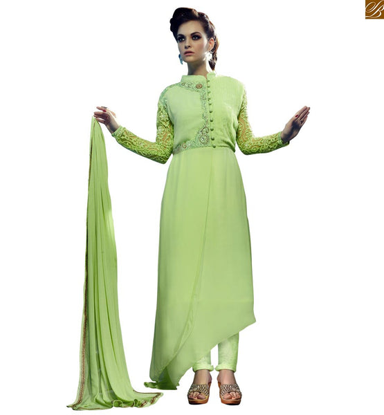STYLISH BAZAAR STRIKING GREEN EMBROIDERED DESIGNER WEAR SALWAR KAMEEZ RTRIN9004