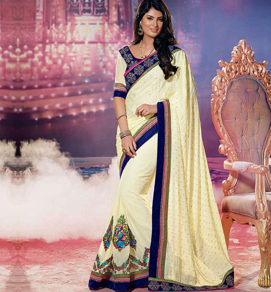 CLASSY SAYALI BHAGAT CREAM SAREE RTJL9004 - StylishBazaar - SAYALI BHAGAT, SAYALI BHAGAT Collection, Desinger Bollywood Sarees,saree buy online, indian saree buy online, sarees buy online, indian saree online, saree blouse design , buy sarees online