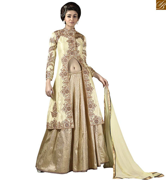 FROM THE HOUSE  OF STYLISH BAZAAR DESIGNER PARTY WEAR BEIGE GHAGRA CHOLI DESIGN VDKYA9004
