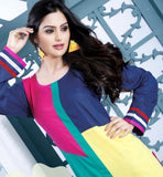 MAJESTIC MULTICOLOR DESIGNER COTTON LONG KURTI CFAK9004