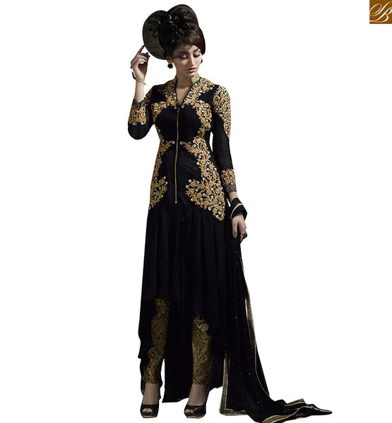 A STYLISH BAZAAR PRESENTATION PRETTILY EMBROIDERED LONG KAMEEZ AND BOTTOM VDKYA9005