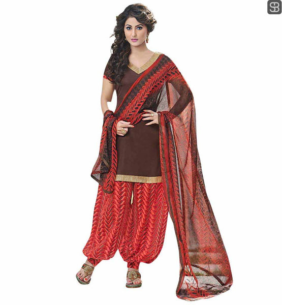 BOLLYWOOD OUTFITS PATTERNS DESIGNER PUNJABI SALWAR KAMEEZ DUPATTA SUIT HINA KHAN FROM YEH RISHTA KYA KEHLATA HAI IN BROWN SUIT TOP WITH RED SALWAR