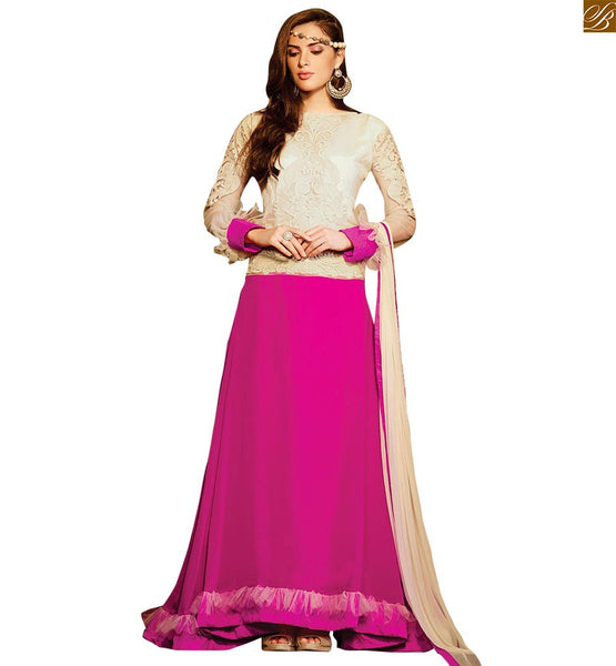 FROM THE HOUSE  OF STYLISH BAZAAR FASHIONABLE WHITE AND PINK KAMEEZ COMBINED WITH WHITE SALWAAAR AND DUPATTA  RTBUG9005