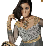Grey pure-bemberg-chiffon stone worked dupatta having this delicate and dreamy look will surely make you feel like a princess. It is perfect for a charming and glamorous woman Photo