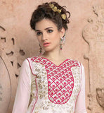 GEORGETTE OFF WHITE KURTI WITH PINK PALAZZO TROUSER STYLE SALWAR