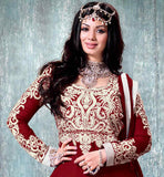 9005F bollywood celebrity Ayesha Takia maroon anarkali dress