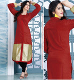 RAVISHING RED DESIGNER COTTON LONG KURTI CFAK9005
