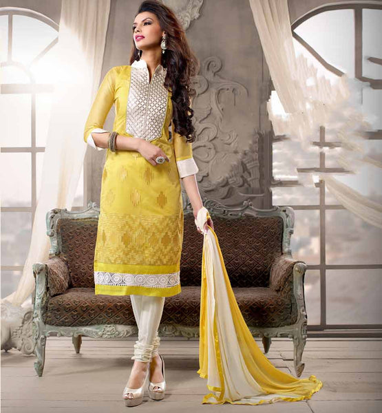 The Summer Has Knocked The Door, It's  Time To Be Dressed In Dazzling Inexpensive Straight Line Cotton Churidar Kameez Dress & Feel Luxury Like Celebrity