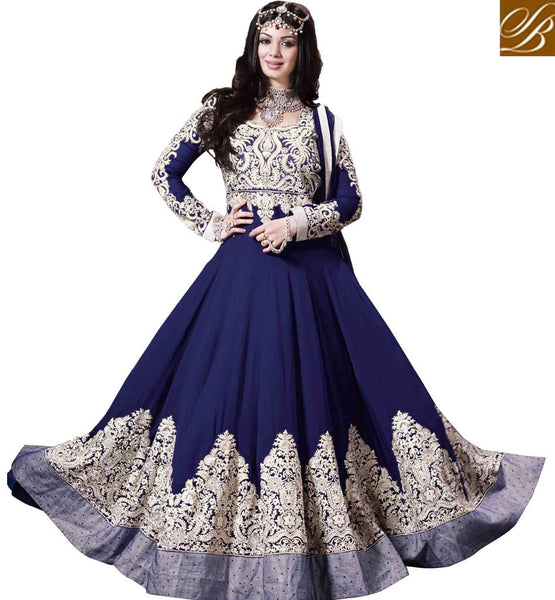 Ayesha Takia in Blue Wedding wear Anarkali