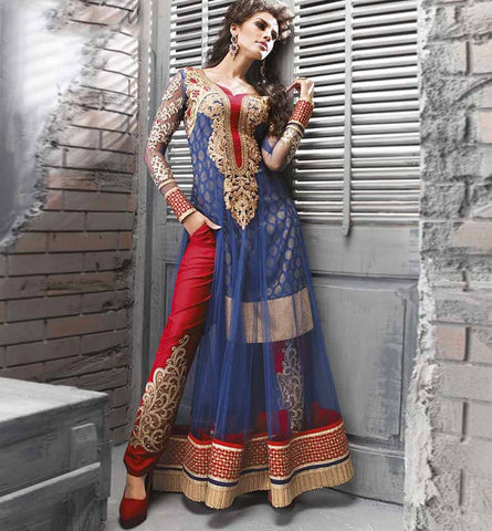 ZOYA FASHIONS BEWITCHING BLUE NET DRESS WITH TROUSER STYLE SALWAR
