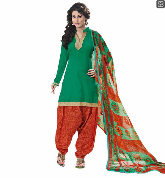 BOLLYWOOD DRESS INSPIRED BY CELEBRITIES CUTE STYLE OF PUNJABI SALWAR KAMEEZ DAZZLING BEAUTY HINA KHAN GREEN KAMEEZ WITH MUSTARD PATIALA SALWAR AND DUPATTA
