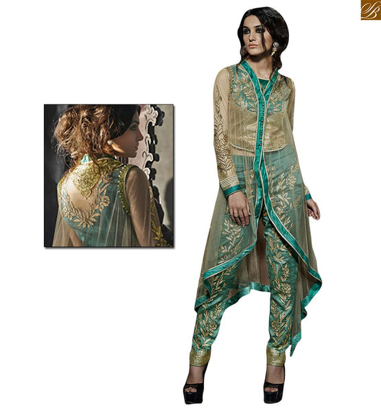 Jacket style sea green lahenga with silk embroidered top sea-green albela-silk fancy embroidered top. Beige net same work lehanga. Sea-green albela-silk fancy embroidered bottom Image