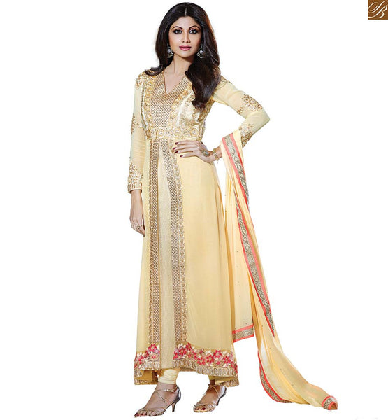 NEW FASHION SALWAR KAMEEZ 2015 LIKE MOVIE HEROINES SHILPA SHETTY BEAUTIFUL DRESS WITH SUPERB PATTERN WORK AND SANTOON BOTTOM