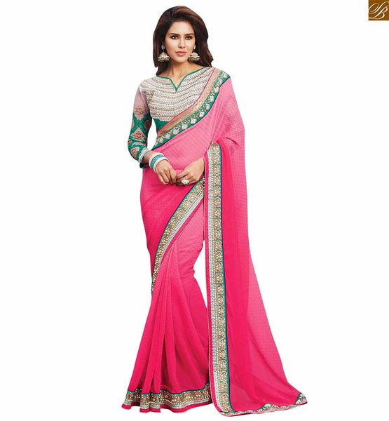 STYLISH BAZAAR CHARMING PINK COLORED SAREE WITH HEAVY DESIGNER BLOUSE RTBAJ9006