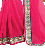 FROM THE HOUSE  OF STYLISH BAZAAR CHARMING PINK COLORED SAREE WITH HEAVY DESIGNER BLOUSE RTBAJ9006