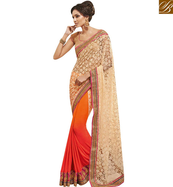 PINK AND ORANGE SHADED HAVING BEAUTIFULL BORDER WORK HALF N HALF SAREE NKEVR9006B