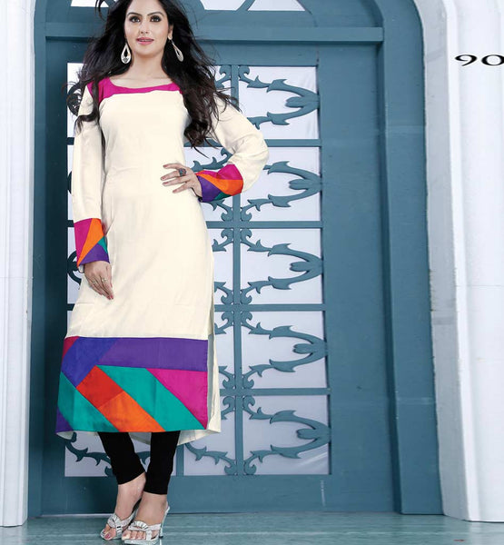 WONDERFUL WHITE DESIGNER COTTON LONG KURTI CFAK9006
