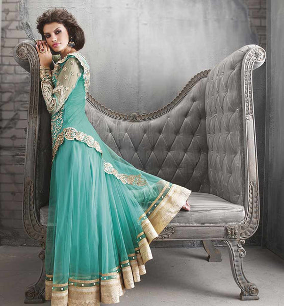 ZOYA ANARKALI COOL GREEN COLOR SUIT WITH DUPATTA FROM ZOYA FASHIONS