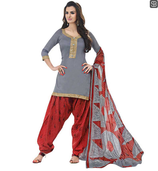 DESIGNER PATIALA SUITS NEW SALWAR KAMEEZ DESIGNS 2015 COMFORTABLE AND STYLISH PEACH SALWAR WITH CONTRAST GREY KAMEEZ AND LOVELY DUPATTA