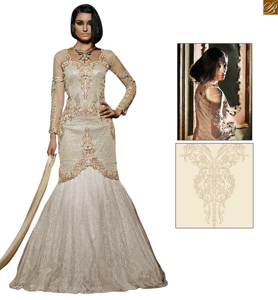 Ultimate evening gown with sequins for party wear off-white occasional wear for every angle girl. Top on fancy embroidery work with sequence and stone work looking pretty Image