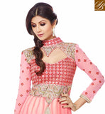SHILPA SHETTY ORIGINAL FASHIONS DRESS WITH BOTTOM AND ODHNI GEORGETTE SUIT WITH EMBROIDERED YOKE, DAMAN AND SLEEVES WITH PURE CHIFFON DUPATTA WITH STONE WORK