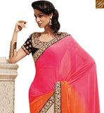 FROM STYLISH BAZAAR ELEGANT CREAM AND ORANGE PINK SHADED PALLU DESIGNER SAREE WITH HEAVY WORK BLOUSE NKEVR9007B