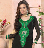 BEAUTIFUL BLACK KAMEEZ WITH PLAZZO SALWAR AND CHIFFON DUPATTA