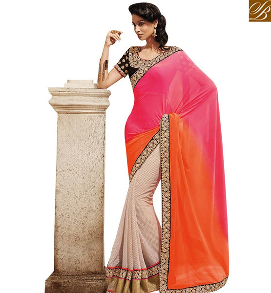 STYLISH BAZAAR ELEGANT CREAM AND ORANGE PINK SHADED PALLU DESIGNER SAREE WITH HEAVY WORK BLOUSE NKEVR9007B