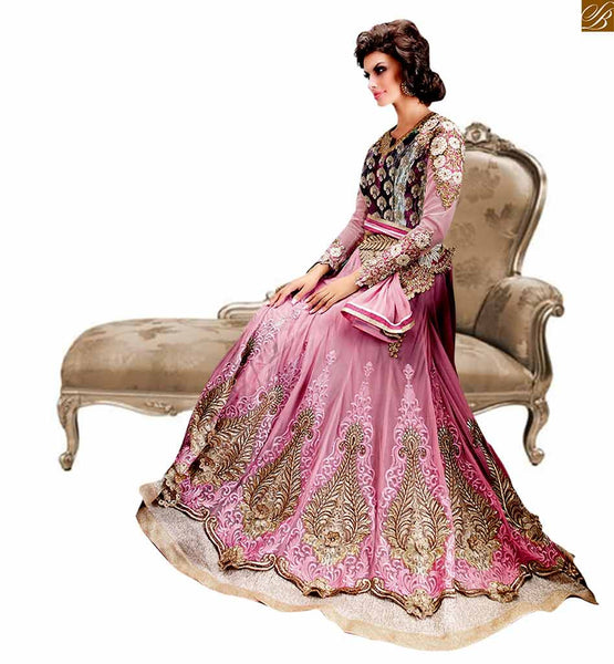Zoya Dress Collections Irresistible Pink Wedding Wear Designer Anarkali Salwar Kameez. Create A Striking Entry Anywhere With This Attractive And Stunning Designer Stylish Zoya Suit